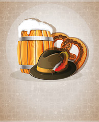 Beer barrel, hat and pretzel