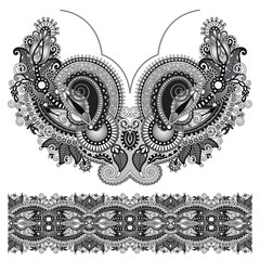 Neckline grey embroidery fashion, black and white collection