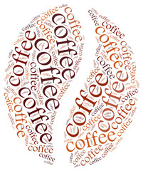 Word cloud illustration related to coffee.