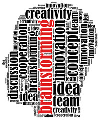 Word cloud illustration related to brainstorming