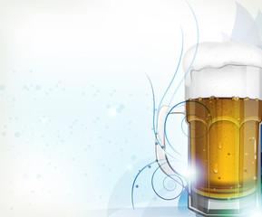 Beer glass on blue