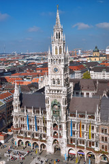 Munchen with Marienplatz, New Town Hall in Germany