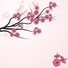 Card with stylized cherry blossom