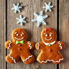 Christmas homemade gingerbread couple cookies