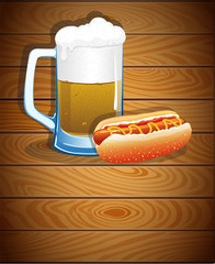Beer mug and hot dog