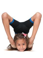 Smiling little gymnast