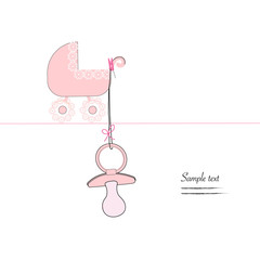 Baby soother and baby stroller vector