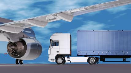 LKW auf dem Vorfeld vor Flugzeugturbine