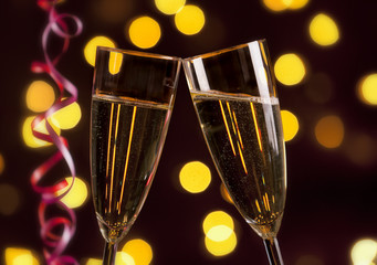 Toasting with champagne on New year's Eve