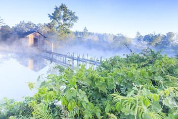 house in fog pond