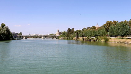 Torre del Oro over Guadalquivir river, Seville, Spain