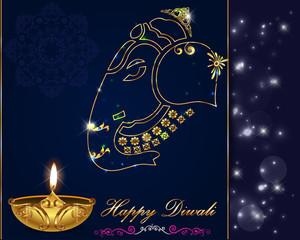 Diwali card design, diya on ganesha background