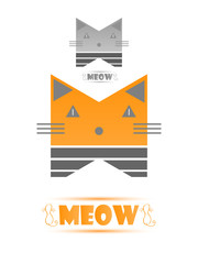 Logo Icon Stylized Cat Flat Style With an Example In Grey Colors