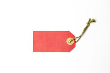 rood label met koord of touw