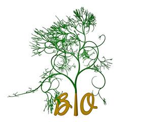 Schriftzug BIO mit einem Baum - Nachhaltigkeit