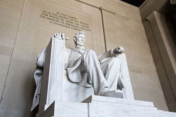 Abraham Lincoln statue, Lincoln memorial in Washington.