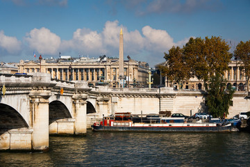 River Seine and historic architecture in Paris, France.