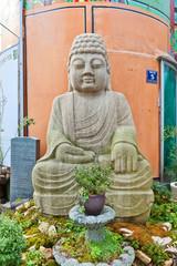 Buddha statue on Gwangbok street in Busan, Korea