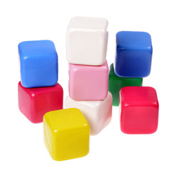 Colorful  cubes children isolated on white background