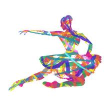 Abstrakt silhuett av ballerina sammansatt färger