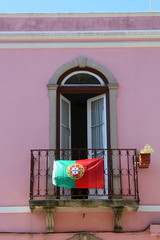 Balcony with portugal flag in Sintra, Portugal