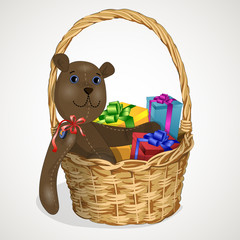 toy Teddy-bear in a wicker basket gifts1