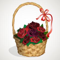 wicker basket roses2