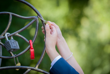 Wedding ceremony with padlock