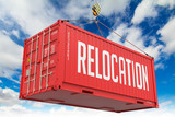 Relocation - Red Hanging Cargo Container. poster