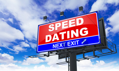 Speed Dating Inscription on Red Billboard.