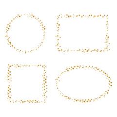 Vier Rahmen aus golden Sternen