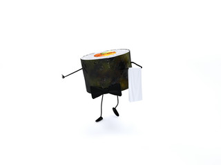 Sushi serveur pour fond blanc