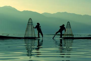 Fisherman of Inle Lake in action when fishing, Myanmar