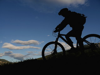 silhouette mountain biker