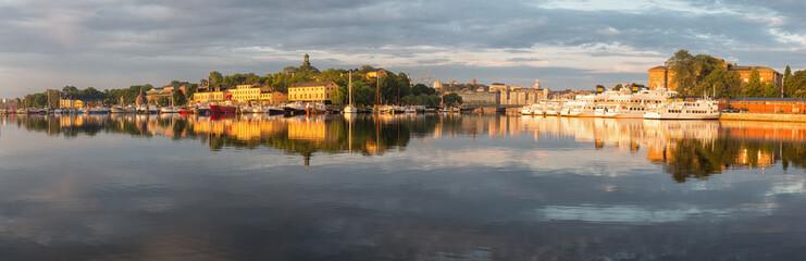 Panoramic image of Stockholm and Skeppsholmen island.