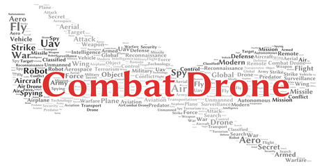 Combat drone word cloud shape