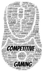Competitive gaming word cloud shape
