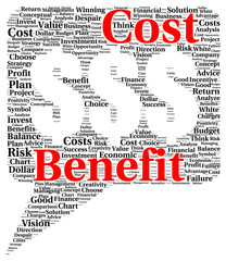 Cost benefit word cloud shape