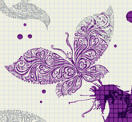 Butterfly purple ink.