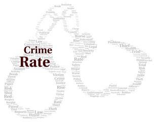Crime rate word cloud shape