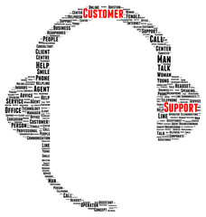 Customer support word cloud shape