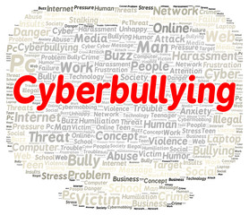 Cyberbullying word cloud shape