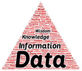 Data information knowledge wisdom word cloud shape