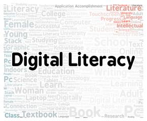Digital literacy word cloud shape