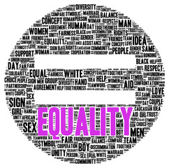 Equality word cloud shape