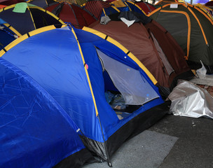 Many tents on street
