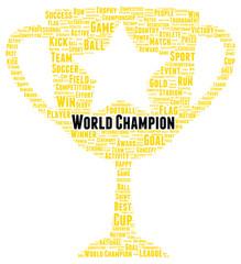 World champion word cloud shape
