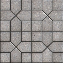 Gray Pavement  Slabs Laid in Pattern.