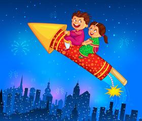 Kids enjoying firecracker celebrating Diwali