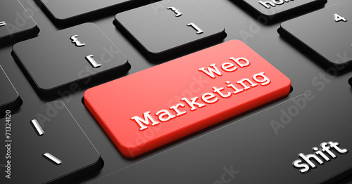 canvas print picture Web Marketing on Red Keyboard Button.